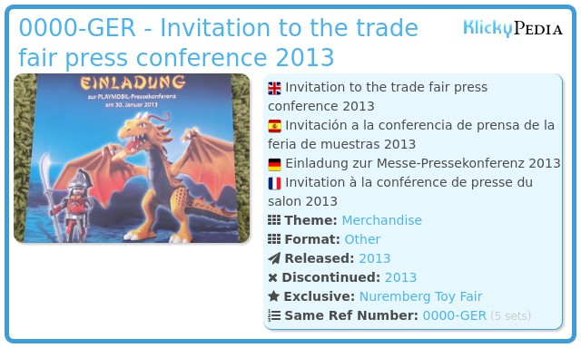 Playmobil 0000-GER - Invitation to the trade fair press conference 2013