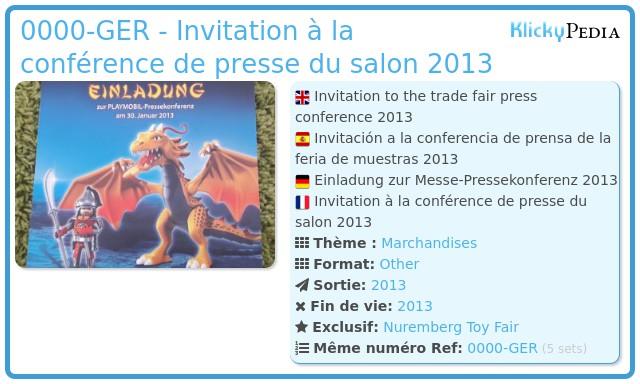 Playmobil 0000-GER - Invitation à la conférence de presse du salon 2013