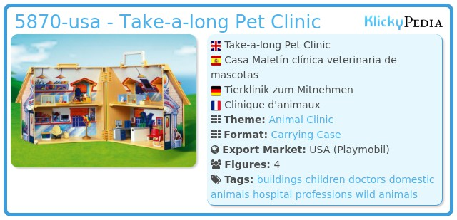 Playmobil 5870-usa - Take-a-long Pet Clinic