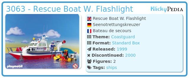 Playmobil 3063 - Rescue Boat W. Flashlight
