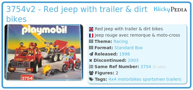 Playmobil 3754v2 -  Red jeep with trailer & dirt bikes