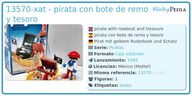 Playmobil 13570-xat - pirata con bote de remo y tesoro