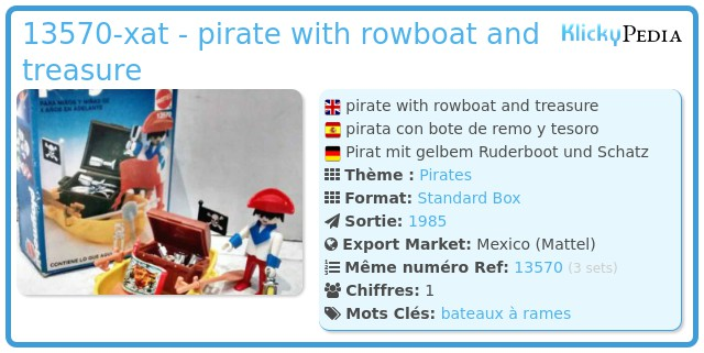 Playmobil 13570-xat - pirate with rowboat and treasure