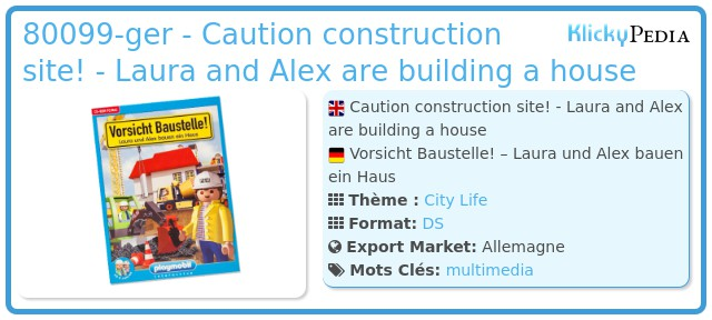 Playmobil 80099-ger - Caution construction site! - Laura and Alex are building a house