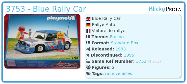 Playmobil 3753 - Blue Rally Car