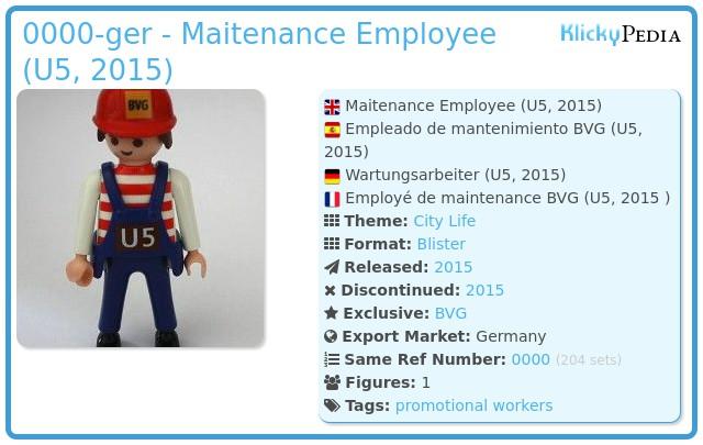 Playmobil 0000-ger - Maitenance Employee (U5, 2015)