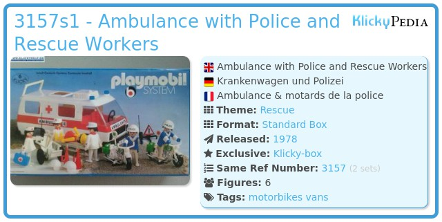 Playmobil 3157s1 - Ambulance with Police and Rescue Workers