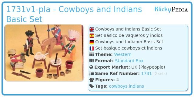 Playmobil 1731v1-pla - Cowboys and Indians Basic Set