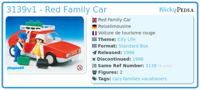 Playmobil 3139v1 - Red Family Car
