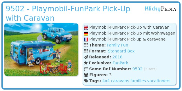 Playmobil 9502 - Playmobil Pickup with Caravan