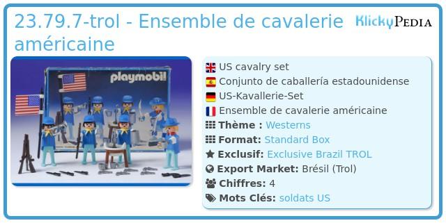 Playmobil 23.79.7-trol - Ensemble de cavalerie américaine