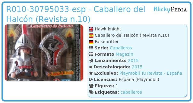 Playmobil R010-30795033-esp - Caballero del Halcón (Revista n.10)