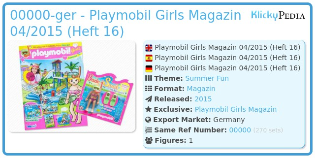 Playmobil 00000-ger - Playmobil Girls Magazin 04/2015 (Heft 16)