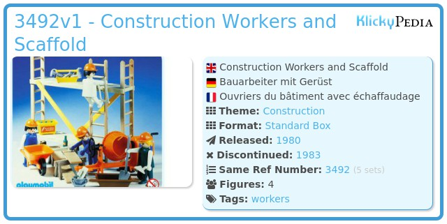 Playmobil 3492v1 - Construction Workers and Scaffold