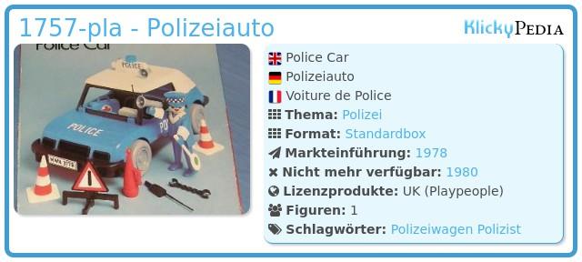 Playmobil 1757-pla - Polizeiauto
