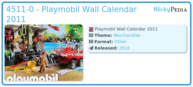 Playmobil 4511-0 - Playmobil Wall Calendar 2011