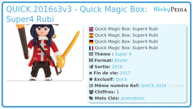 Playmobil QUICK.2016s3v3 - Quick Magic Box: Super4 Rubi