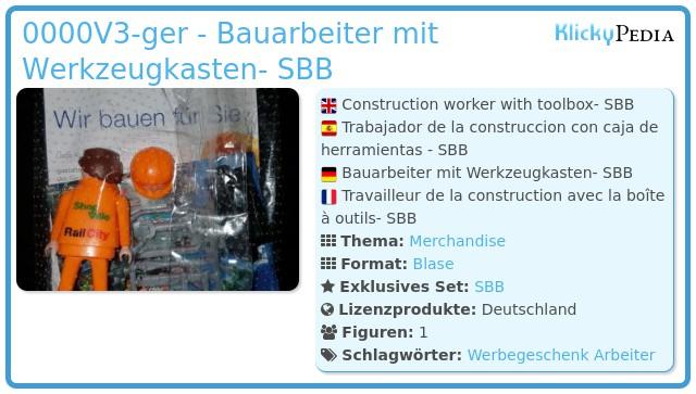 Playmobil 0000V3-ger - Bauarbeiter mit Werkzeugkasten- SBB