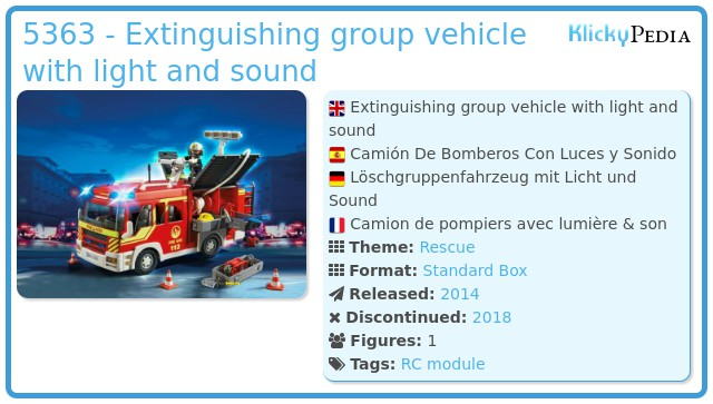 Playmobil 5363 - Extinguishing group vehicle with light and sound