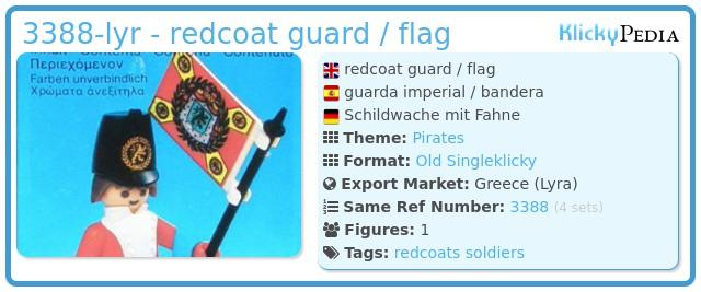 Playmobil 3388-lyr - redcoat guard / flag