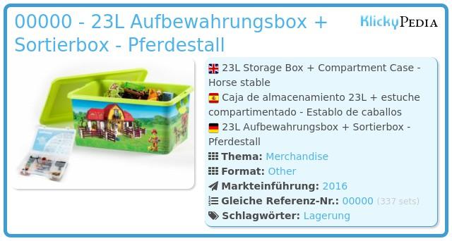 Playmobil 00000 - 23L Aufbewahrungsbox + Sortierbox - Pferdestall