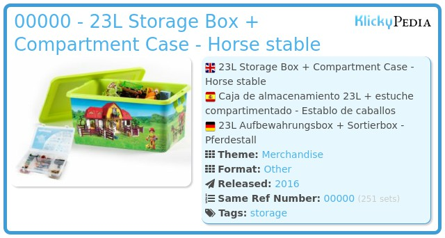 Playmobil 00000 - 23L Storage Box + Compartment Case - Horse stable