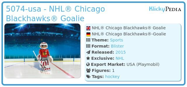 Playmobil 5074-usa - NHL® Chicago Blackhawks® Goalie