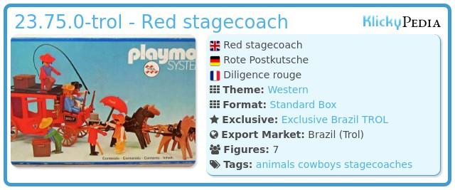 Playmobil 23.75.0-trol - Red stagecoach