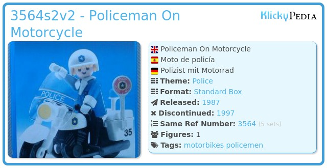 Playmobil 3564s2v2 - Policeman On Motorcycle