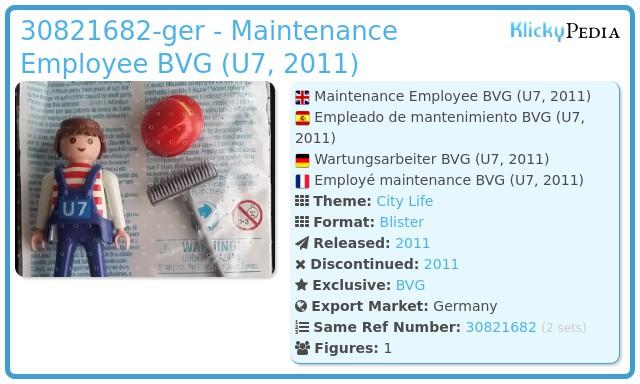 Playmobil 30821682-ger - Maintenance Employee BVG (U7, 2011)