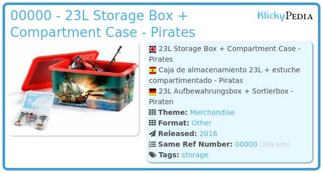 Playmobil 00000 - 23L Storage Box + Compartment Case - Pirates