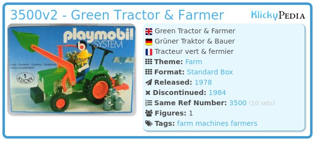 Playmobil 3500v2 - Green Tractor & Farmer
