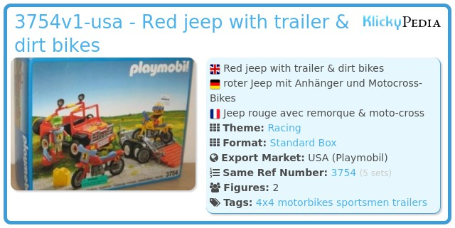 Playmobil 3754v1-usa - Red jeep with trailer & dirt bikes