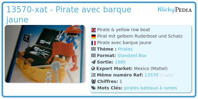 Playmobil 13570-xat - Pirate avec barque jaune