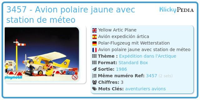 Playmobil 3457 - Avion polaire jaune avec station de méteo