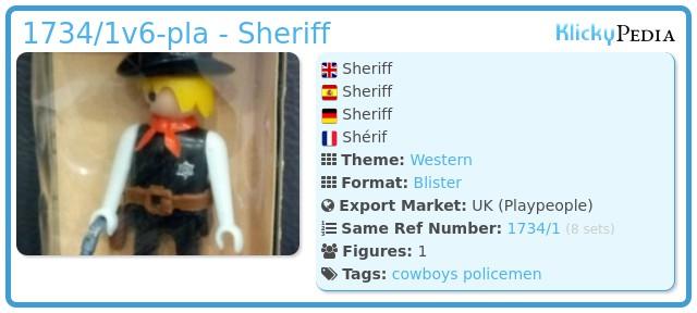 Playmobil 1734/1v6-pla - Sheriff