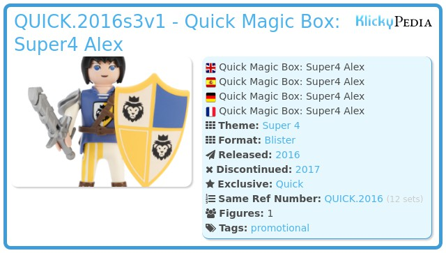 Playmobil QUICK.2016s3v1 - Quick Magic Box: Super4 Alex