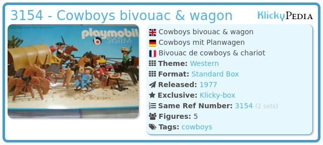 Playmobil 3154 - Cowboys bivouac & wagon