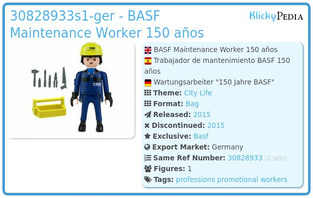 Playmobil 30828933-ger - BASF Maintenance Worker 150 años