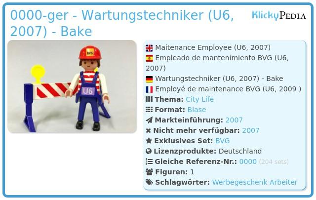 Playmobil 0000-ger - Wartungstechniker (U6, 2007) - Bake