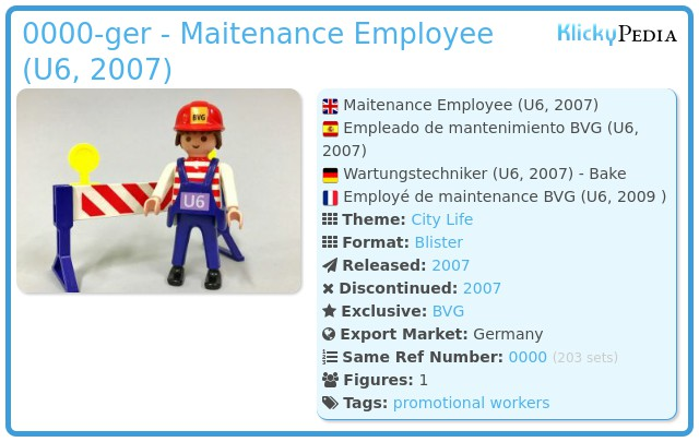 Playmobil 0000-ger - Maitenance Employee (U6, 2007)