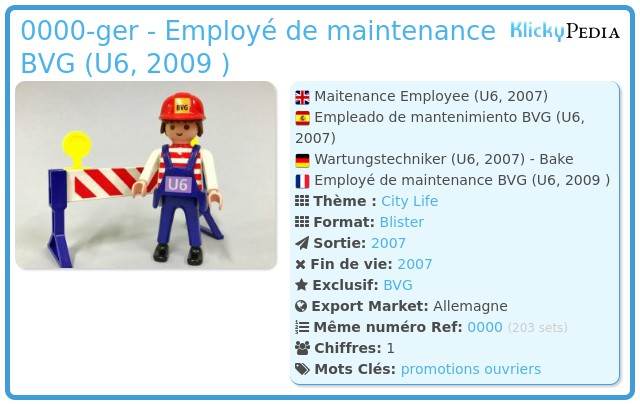 Playmobil 0000-ger - Employé de maintenance BVG (U6, 2009 )