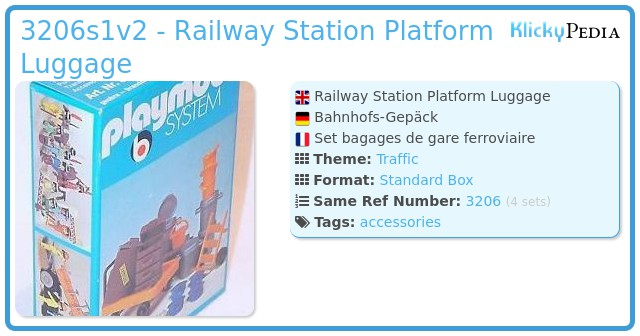 Playmobil 3206s1v2 - Railway Station Platform Luggage