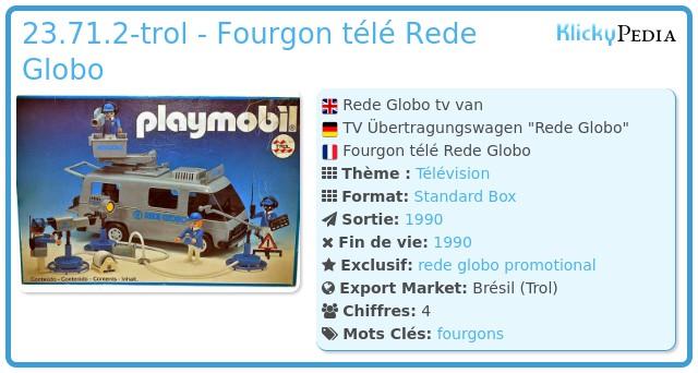 Playmobil 23.71.2-trol - Fourgon télé Rede Globo