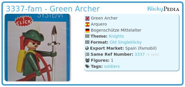 Playmobil 3337-fam - Green Archer