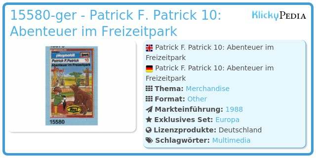 Playmobil 15580-ger - Patrick F. Patrick 10: Abenteuer im Freizeitpark