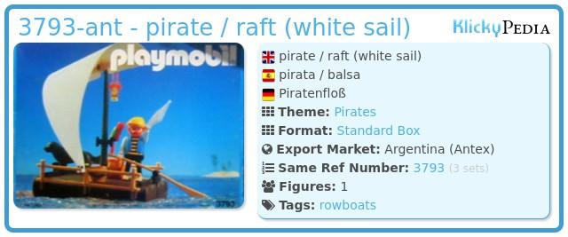 Playmobil 3793-ant - pirate / raft (white sail)