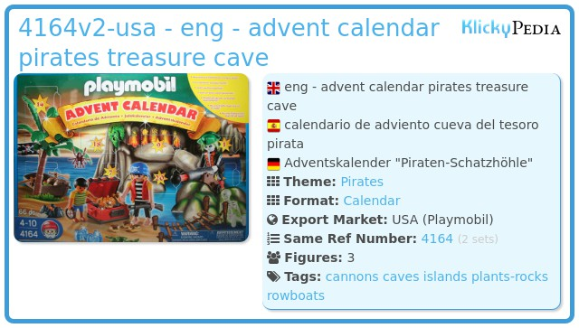 Playmobil 4164v2-usa - eng - advent calendar pirates treasure cave