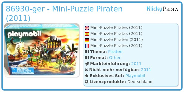 Playmobil 86930-ger - Mini-Puzzle Piraten (2011)