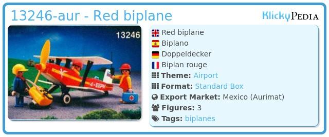 Playmobil 13246-aur - Red biplane